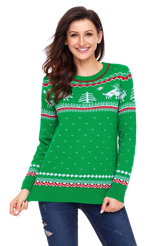 Ladies Green Christmas Reindeer Knit Sweater Winter Jumper