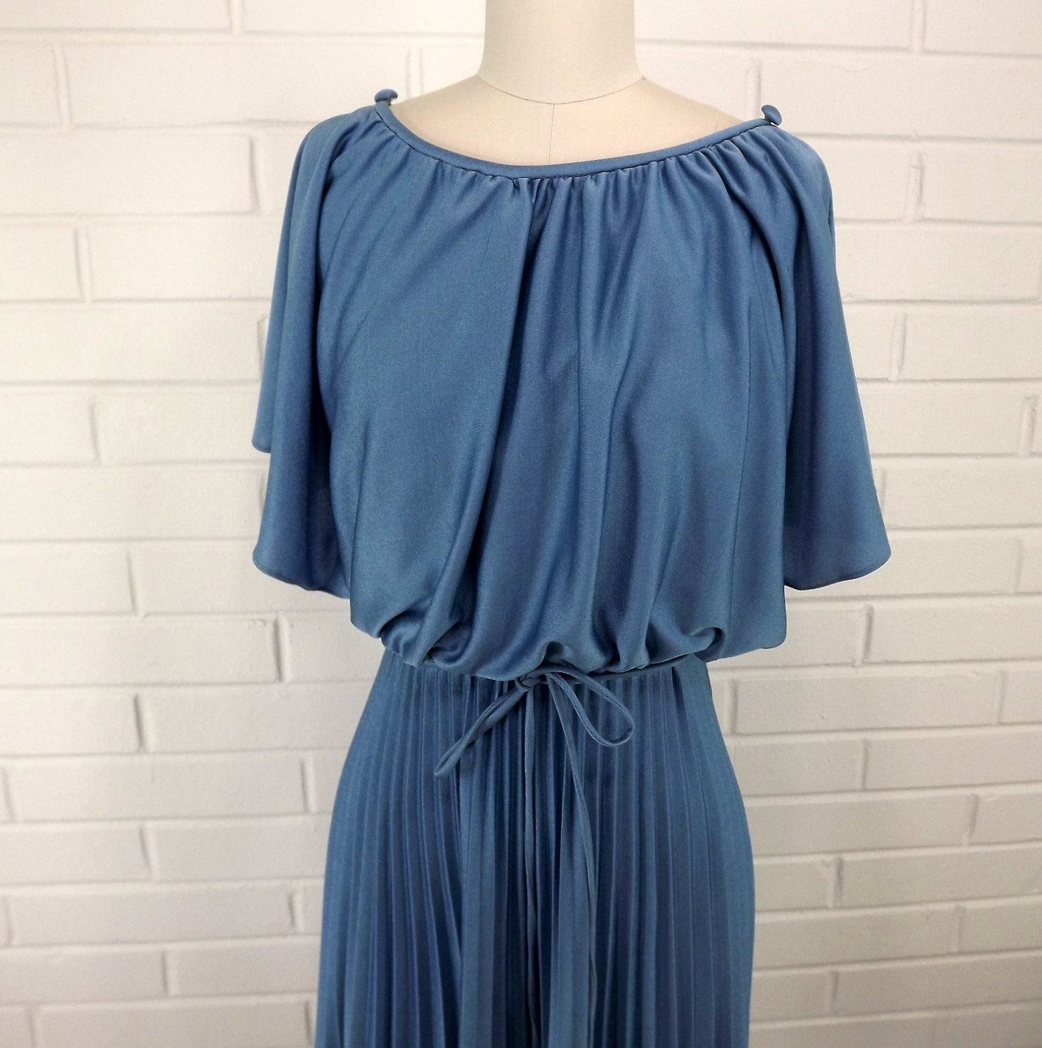 Vintage 70\'s Party Dress, Smokey Blue, Accordion Skirt, Size 6 ...
