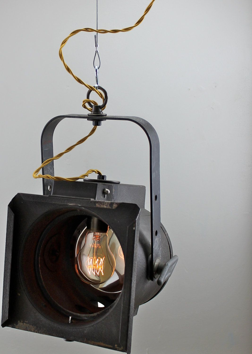 Vintage theater pendant light fixture industrial antique for The lamp light theater