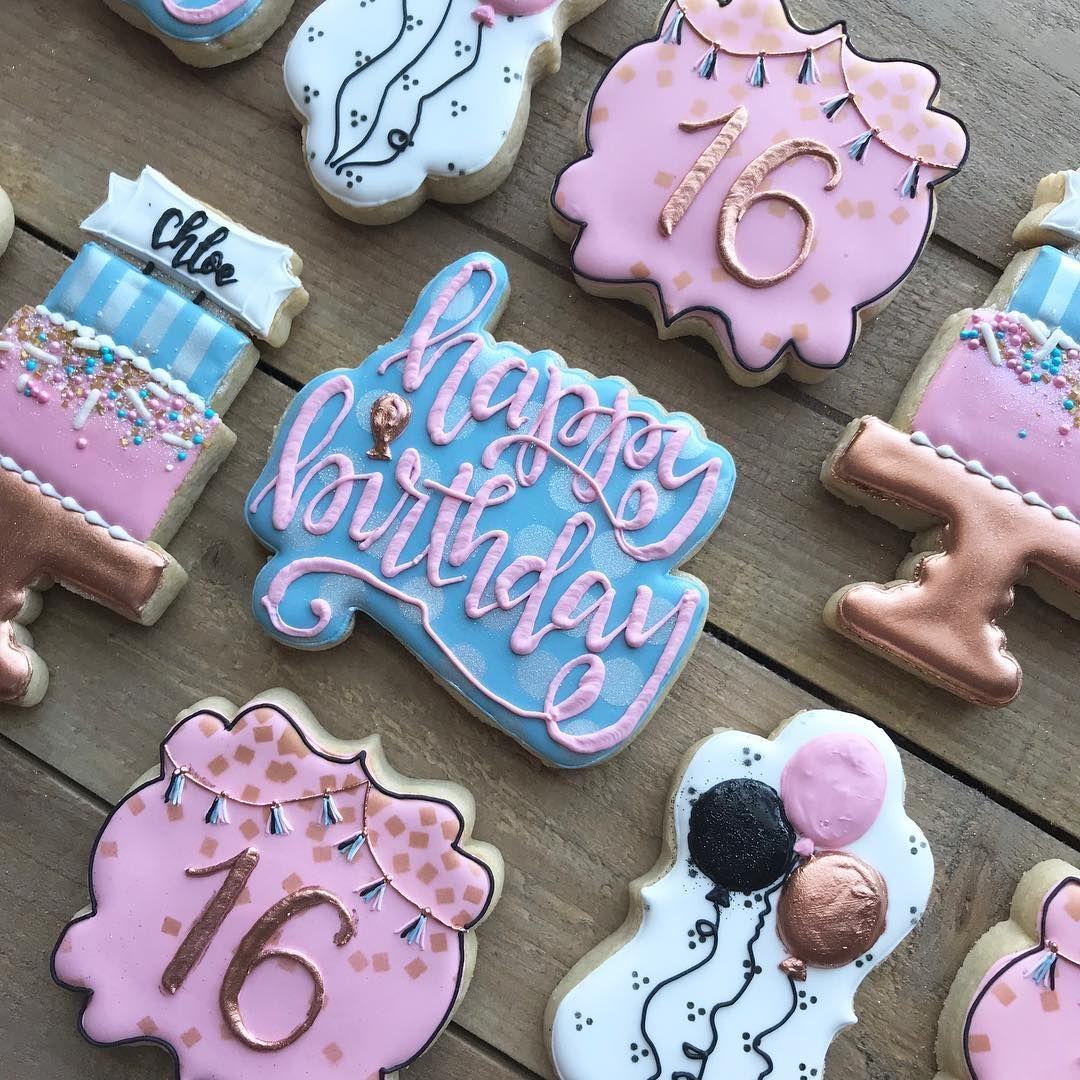 number 16 birthday cookies