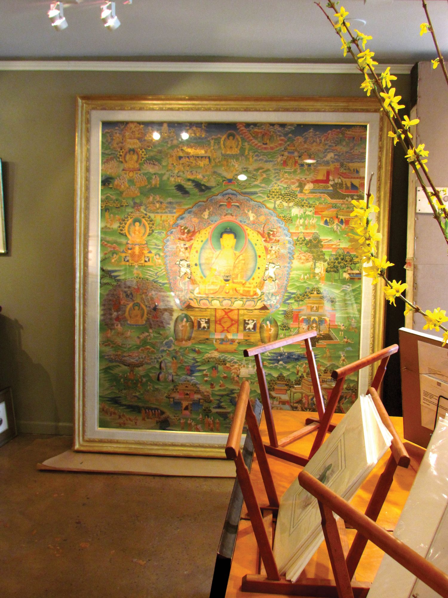Large Tibetan thangka painting with special French cleat to be ...