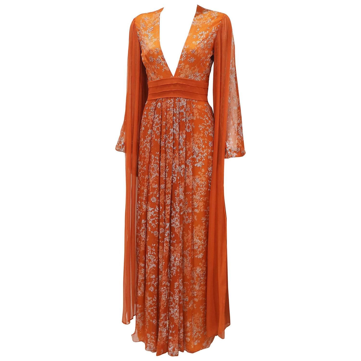 Thea Porter Couture silk chiffon evening dress, c. early 1970s 1