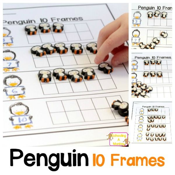 Wintertime Penguin 10 frame Worksheet Perfect for Counting Practice