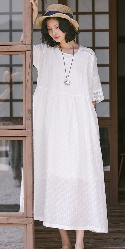 6f2a0d83cecc2 Casual Summer White Linen Maxi Dresses Women Loose Outfits Q9507 ...