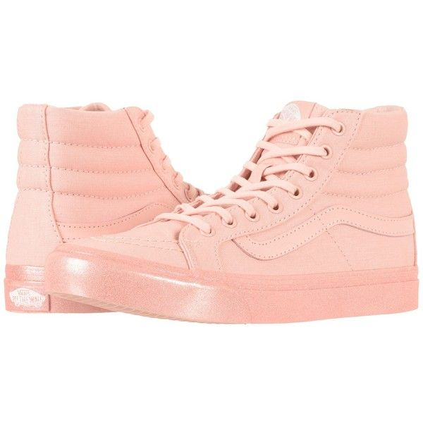 411509b834cfad Vans SK8-Hi Slim ((Metallic Glitter) Silver Pink) Skate Shoes ( 65) ❤ liked  on Polyvore featuring shoes