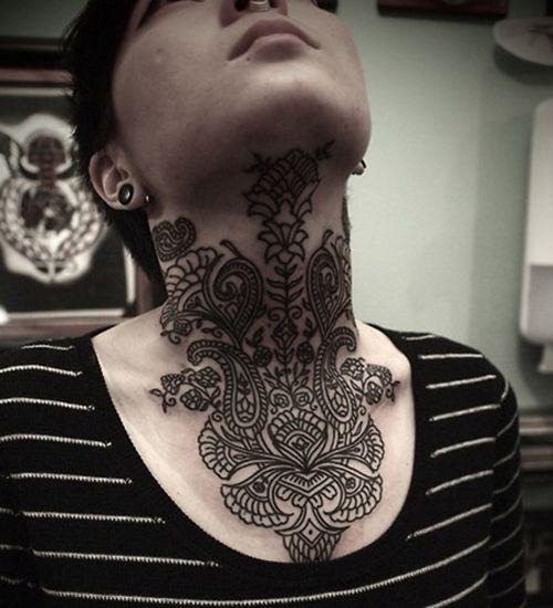 Henna Tattoo Neck Designs: Temporary Henna Tattoos On Neck For Girls