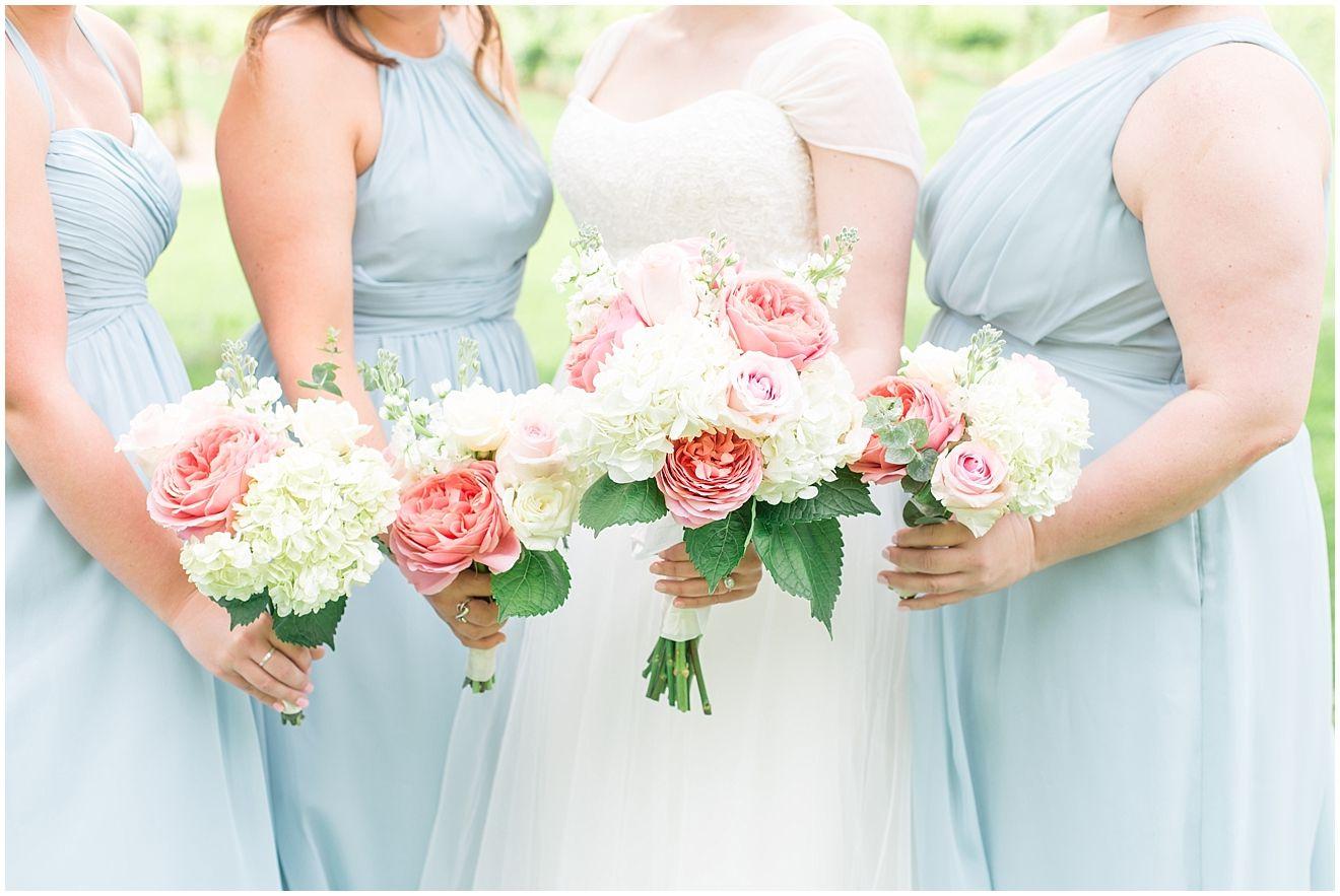 Dusty blue peachy blush bridal party our wedding pinterest