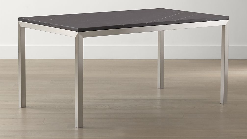 Black Marble Top Stainless Steel Base Parsons Dining Tables