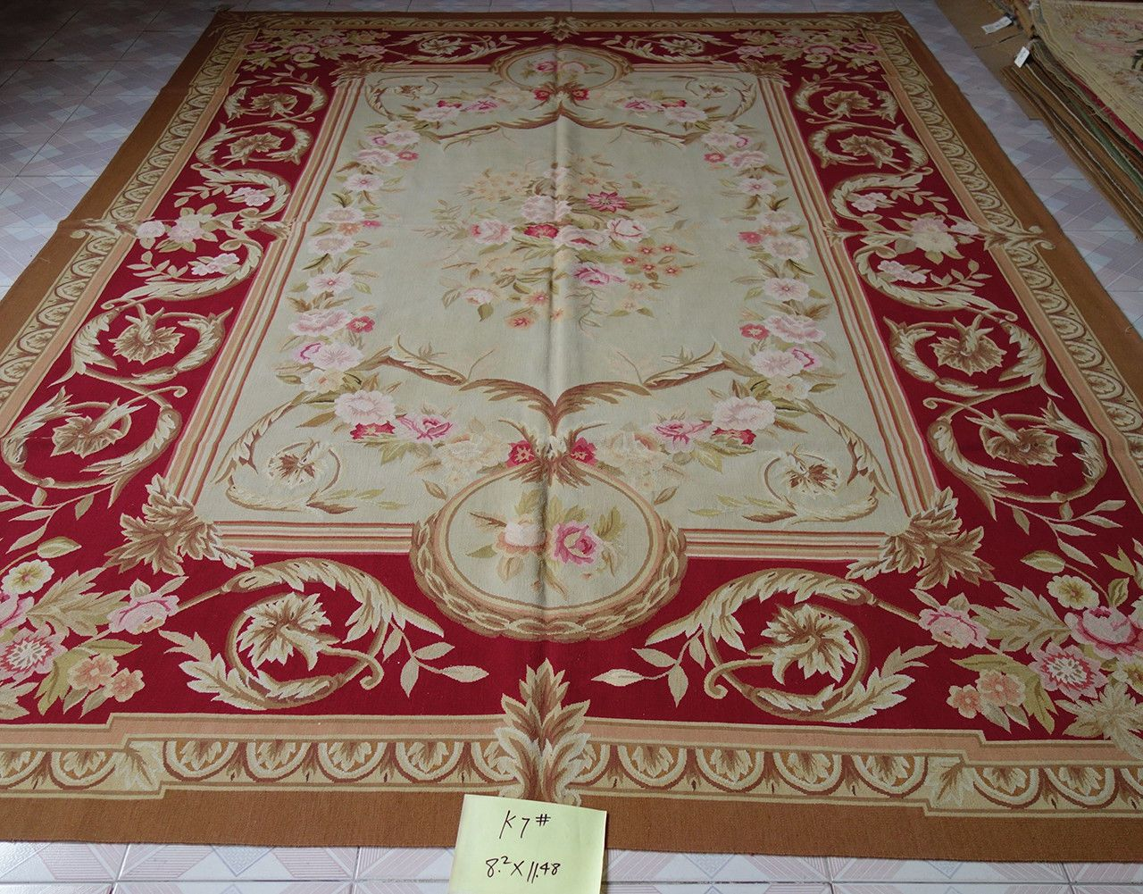 2 5 X 3 Meter Large Burgandy Beige Living Fine Room Decor Aubusson Rug Ebay