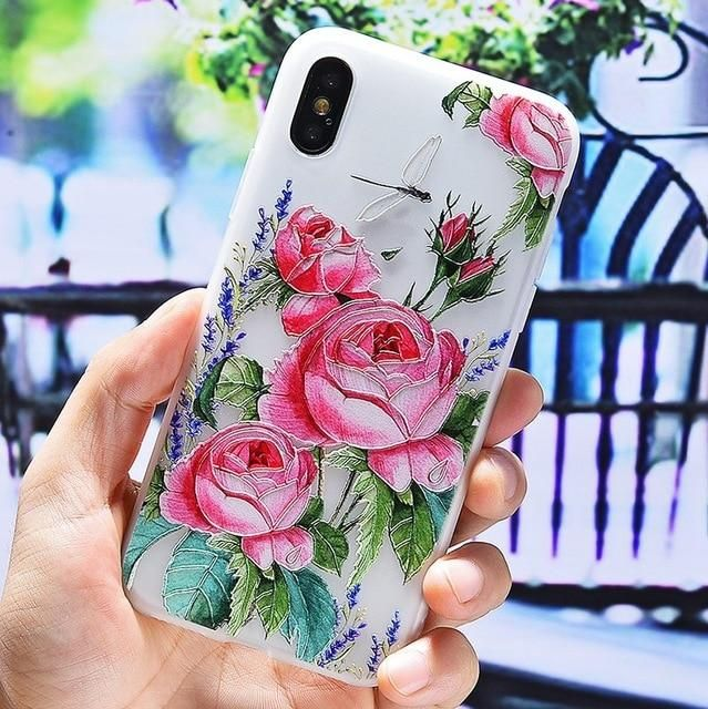 3D Silicone Floral Phone Case For iPhone X XR XS MAX 7 8 6