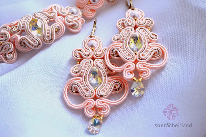 Bridal rosegold soutache set, blush earrings and bracelet, Swarovski Crystals