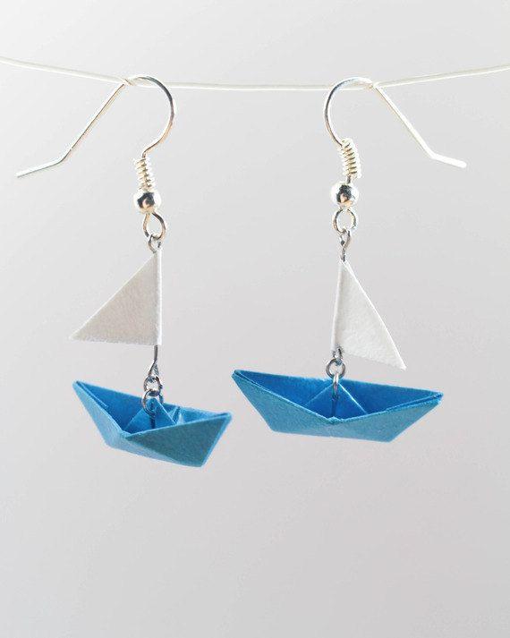Boucles d'oreilles bateau origami papier / FrenchPaperArt