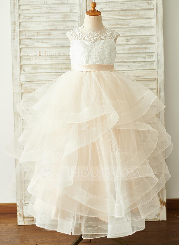 Photo of JJsHouse Ball-Gown/Princess Floor-length Flower Girl Dress – Tull