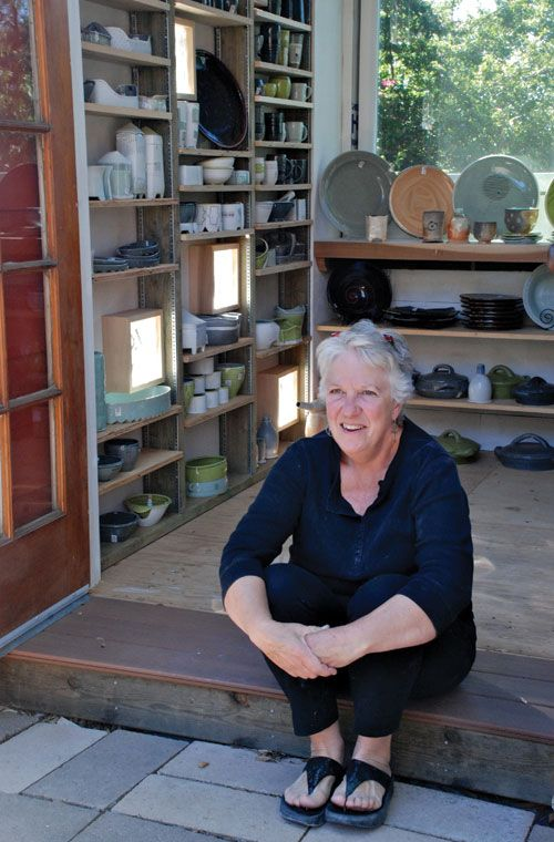 Nan Coffin seated on the step into the galerita behind her studio, in San Diego, California. Nan was featured in the June/July/August 2013 issue of Ceramics Monthly as part of the Working Potters focus. http://ceramicartsdaily.org/ceramics-monthly/ceramics-monthly-junejulyaugust-2013/