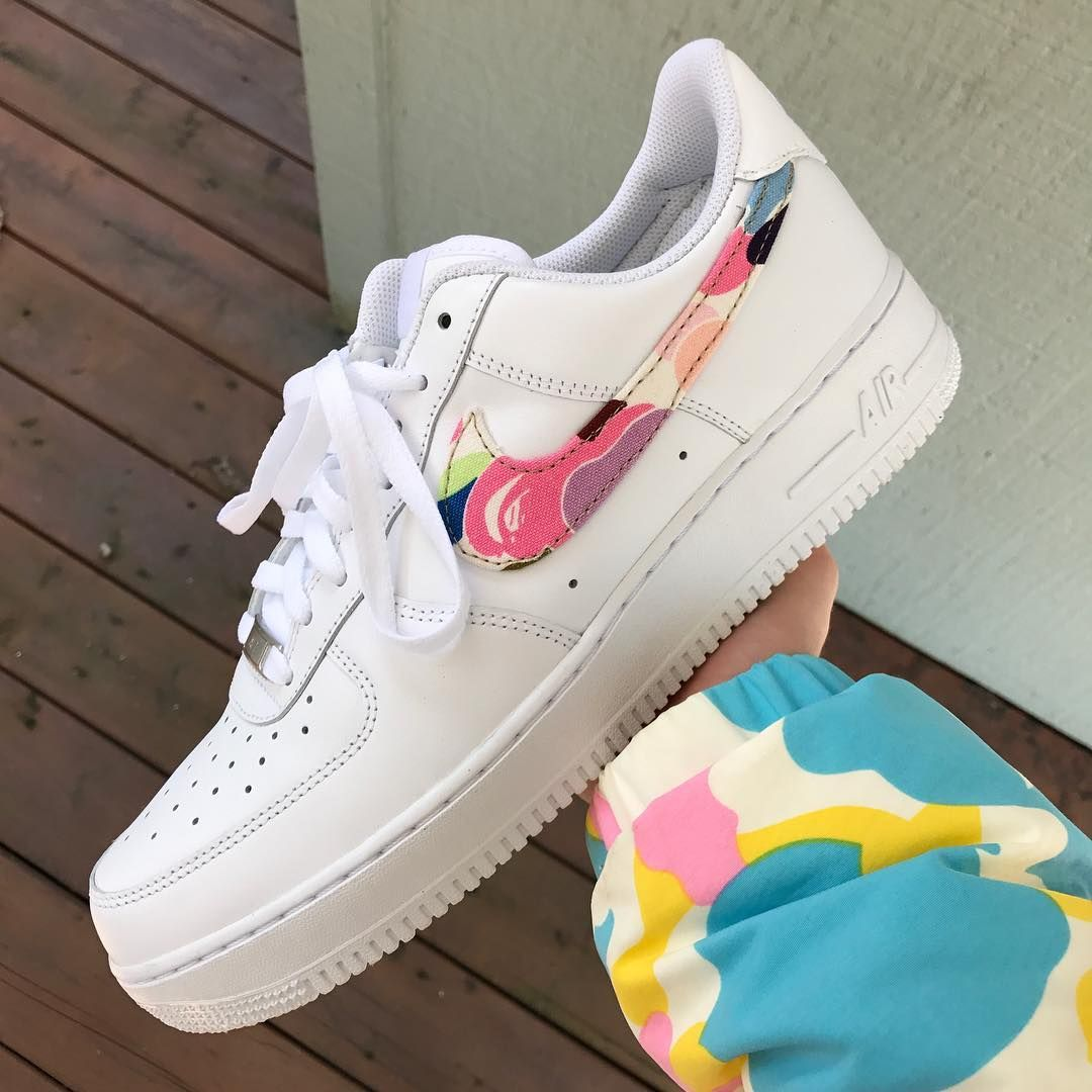 301c9f905f3c5b Cotton Candy Camo Bape Custom AIR FORCE 1 Low