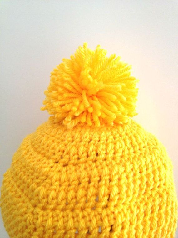 Bomber Ear Flap Hat  Crochet Beanie Yellow With Pom by cookieletta, $30.00