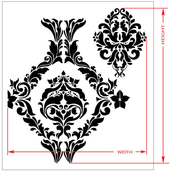 Choose Custom Size LARGE WALL DAMASK STENCIL PATTERN FAUX MURAL DECOR #1026