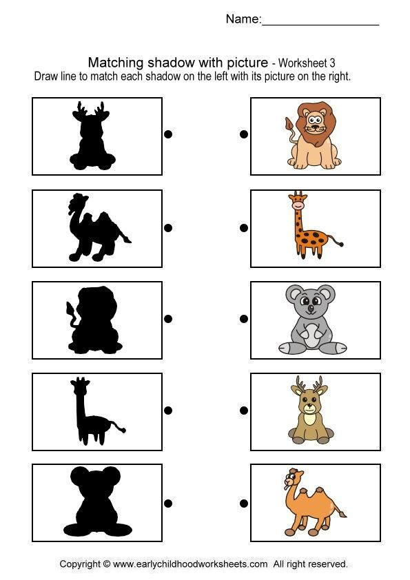 Matching Shadow With Picture Brain Teaser Worksheets 3 – Kindergarten Matching Worksheets