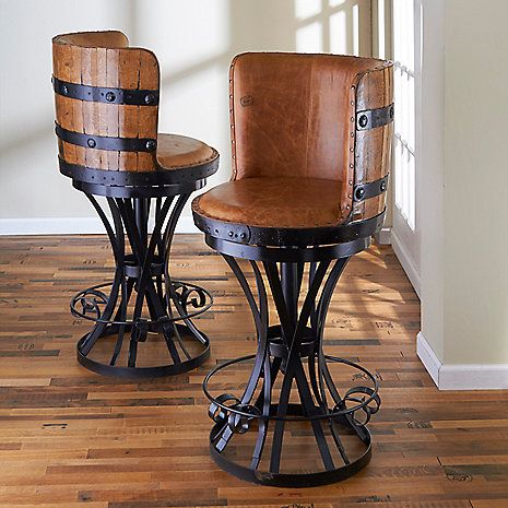 Tequila Barrel Stave Stool With Leather Seat Barrel Furniture