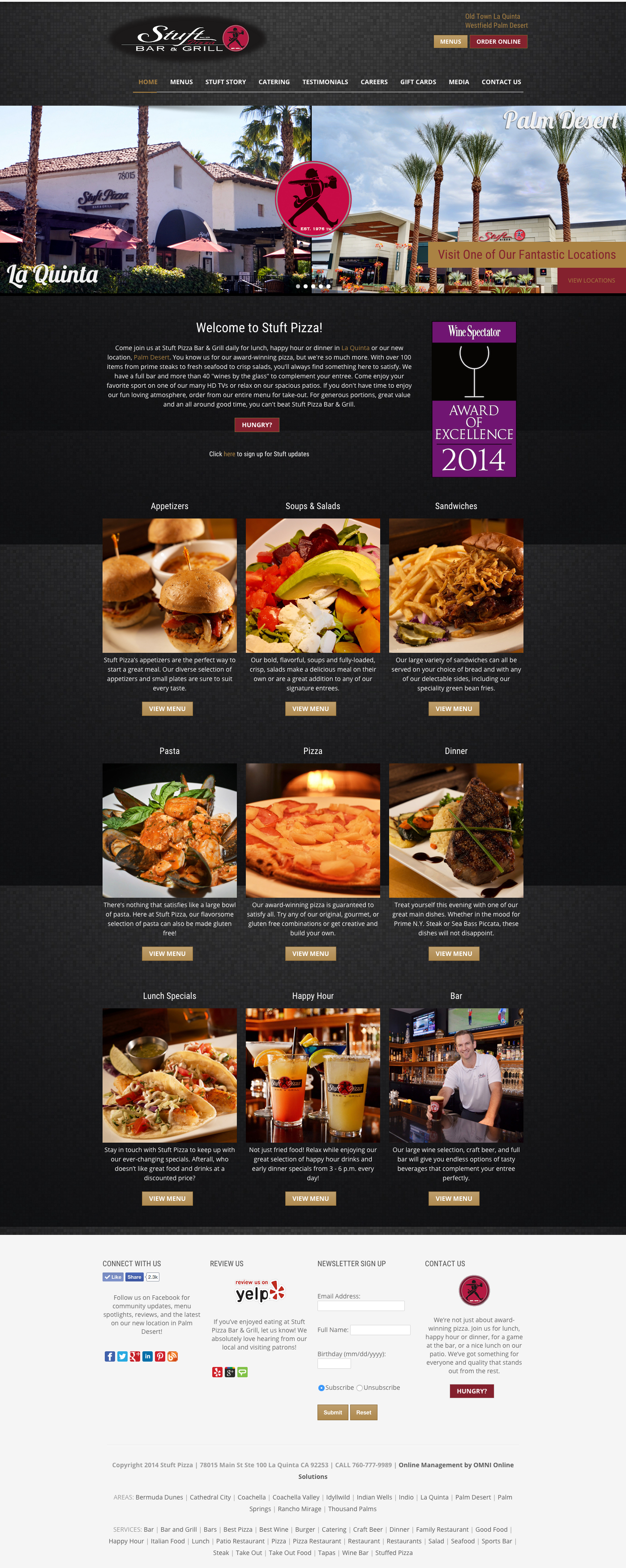 Web Design For The Restaurant Stuft Pizza Bar And Grill Driving Customers To Locations In Palm Desert La Quinta Palm Desert Pizza Bar Showcase Design