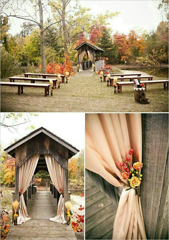 outdoor wedding ceremony decor fall wedding ideas ceremony decor rustic fall wedding 6319