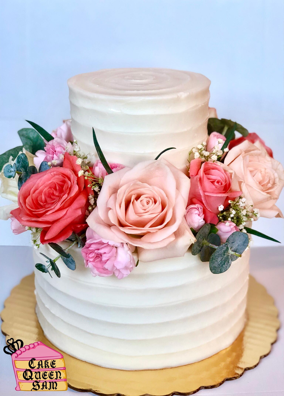 Floral spring rose wedding cake rustic flowers buttercream tier