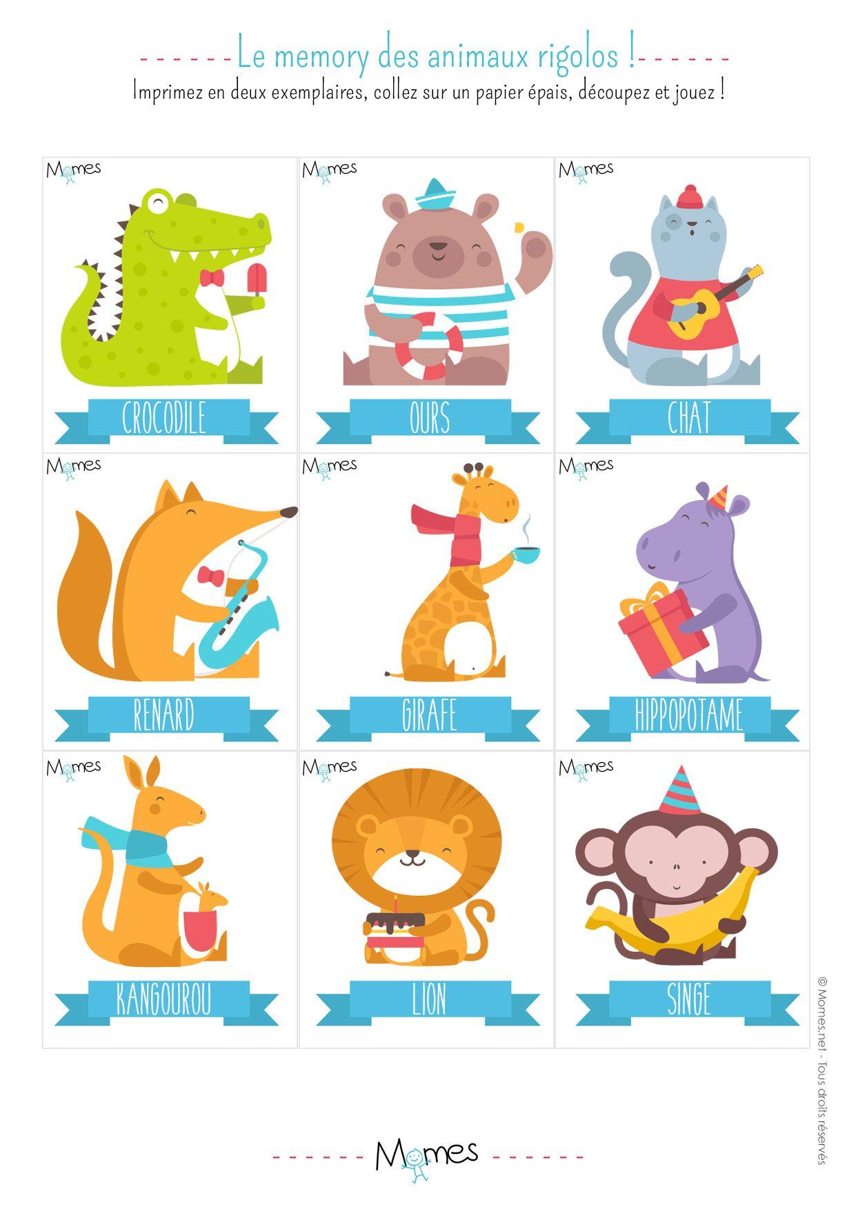 Memory animaux jeu imprimer accueil loisirs pinterest jeux a imprimer jeu de memory - Jeux memoire a imprimer ...