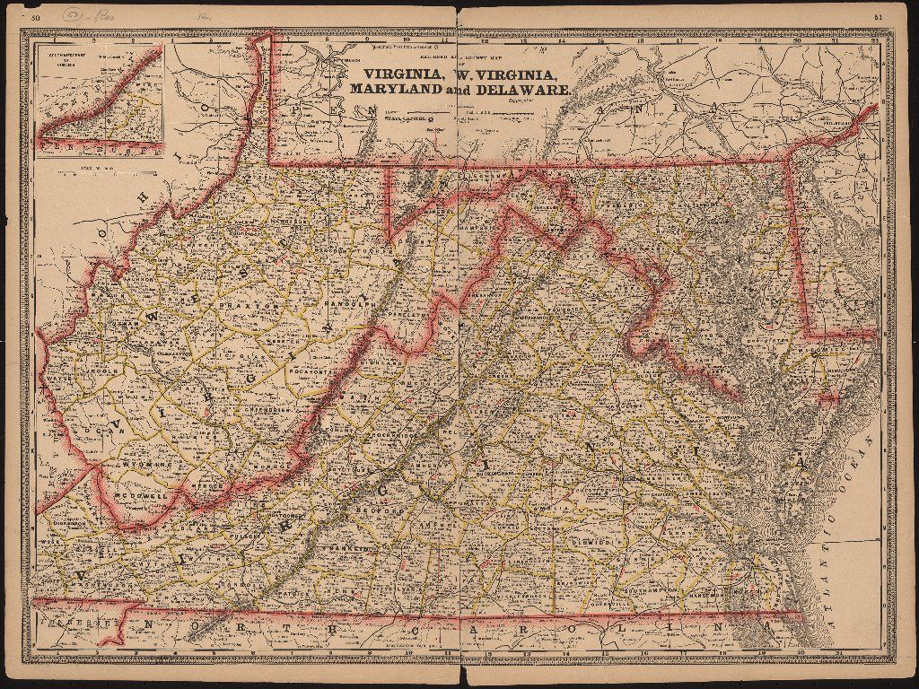 Railroad and county map of Virginia  West Virginia  Maryland and     Railroad and county map of Virginia  West Virginia  Maryland and Delaware   1885