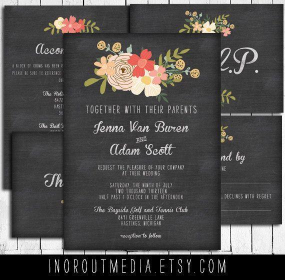 Rustic Wedding Invitation Suite Vintage Floral By Inoroutmedia