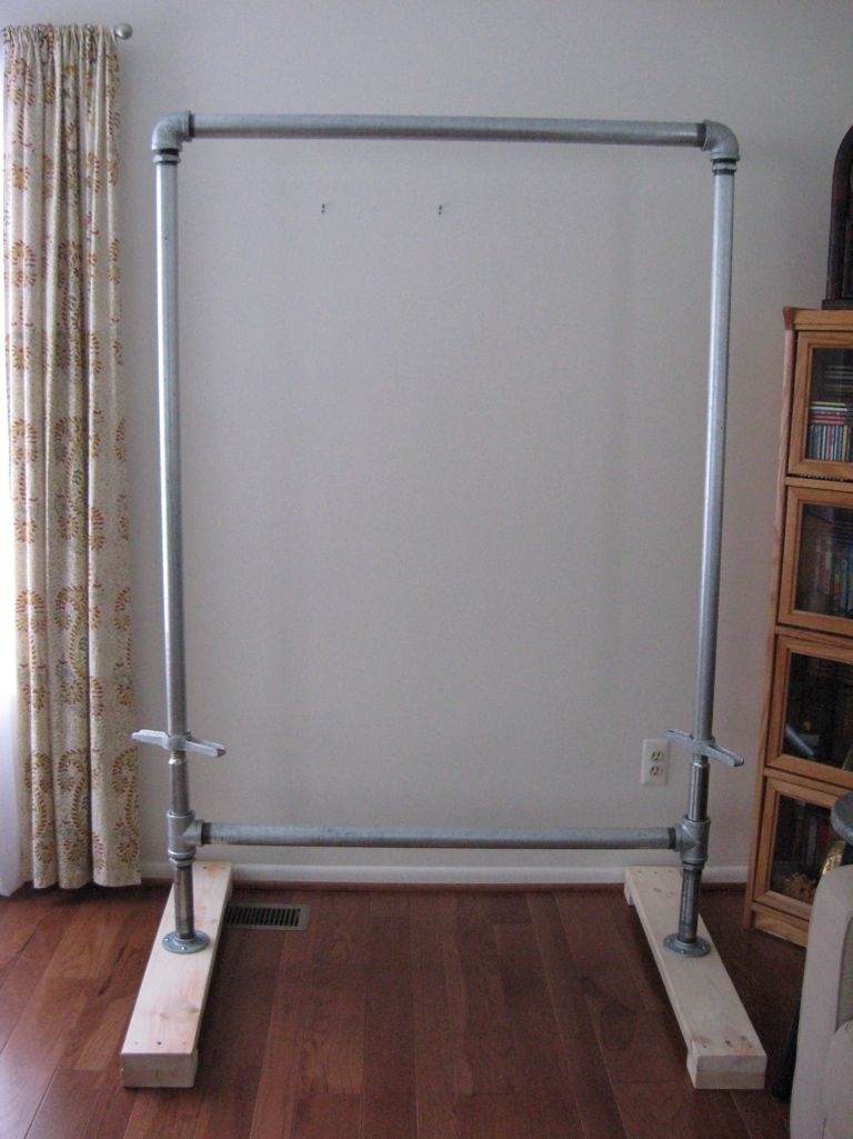 Homemade tapestry loom with galvanized pipe by barbara for Homemade pull up bar galvanized pipe