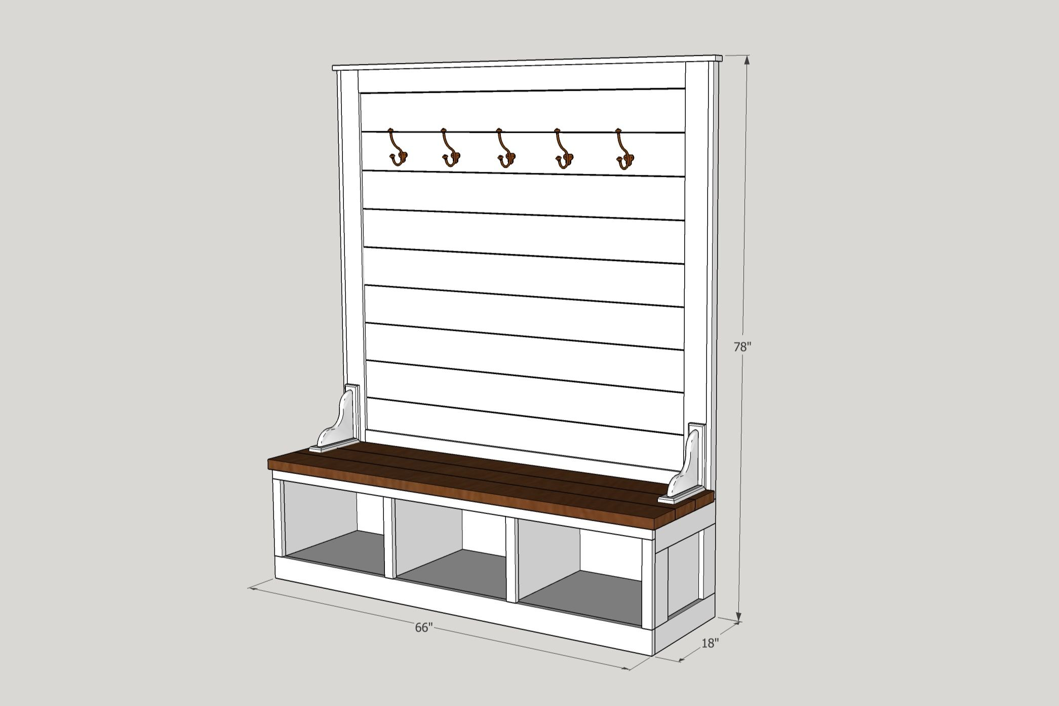 Shiplap Hall Tree Bench Plans Updated 1 8 19 The Awesome Orange Hall Tree Bench Diy Storage Bench Diy Storage Bench Plans