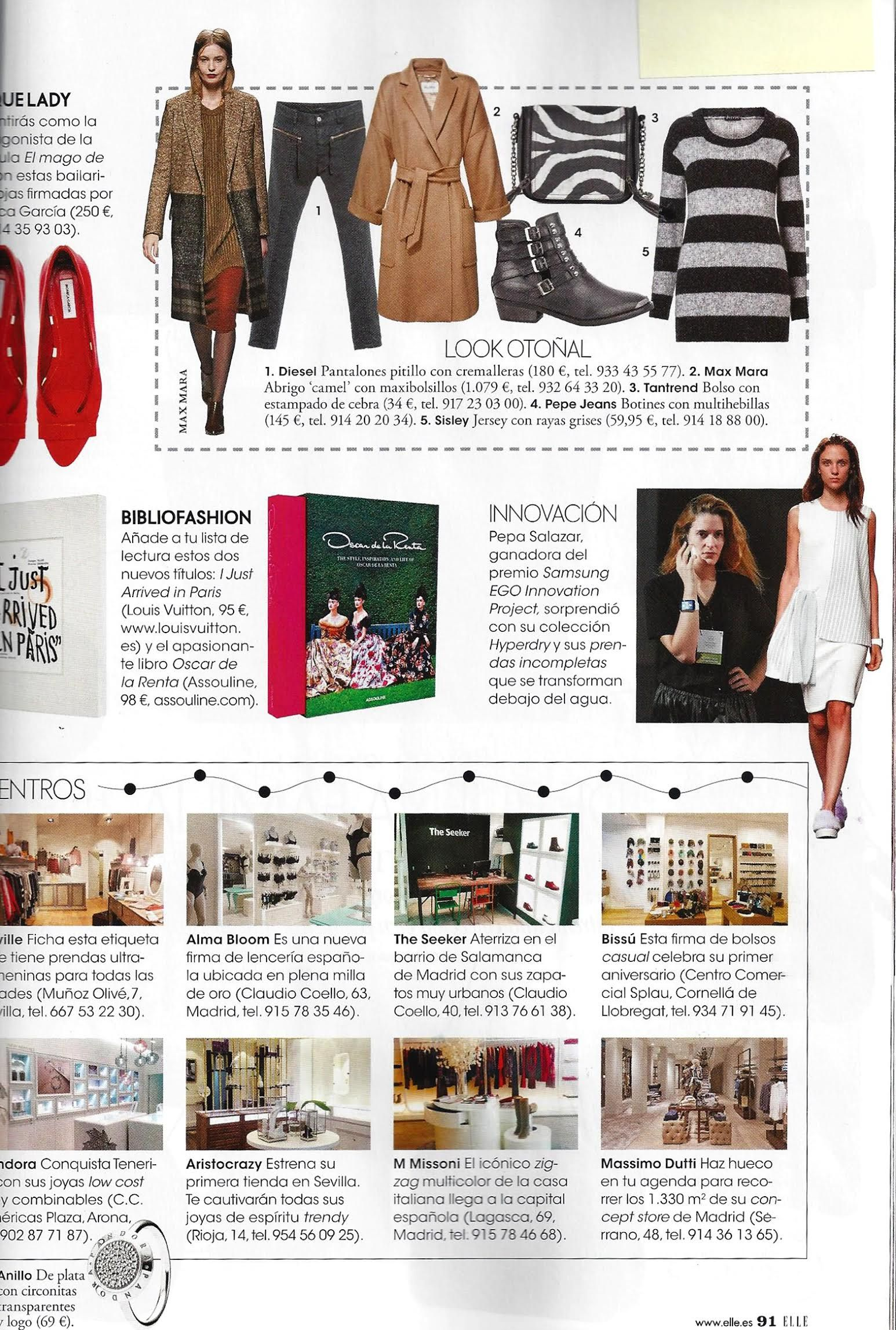 Spain clipping in Elle magazine.  The Seeker
