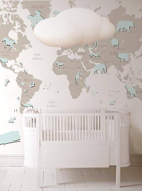 Papel pintado de mapas para cuarto de beb 04 papel - Habitacion bebe papel pintado ...