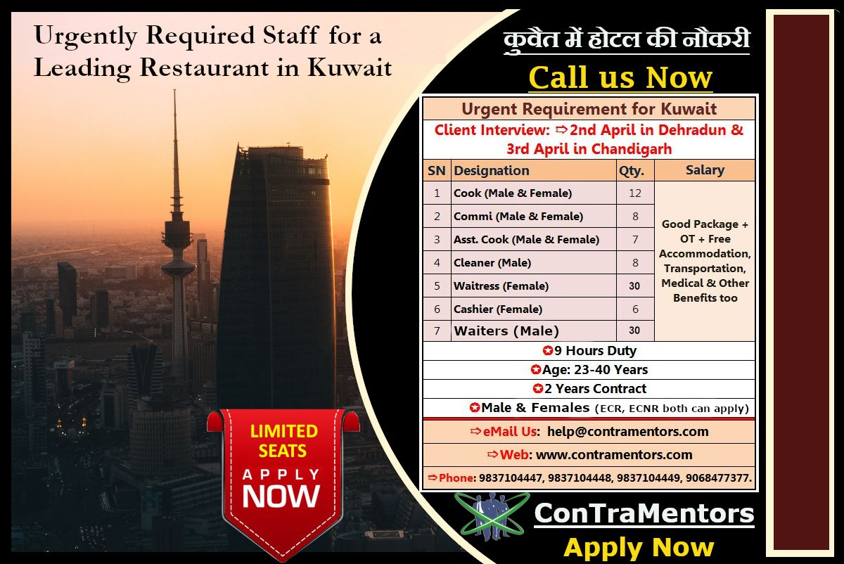 Urgent Requirement of Hospitality Staff for a leading