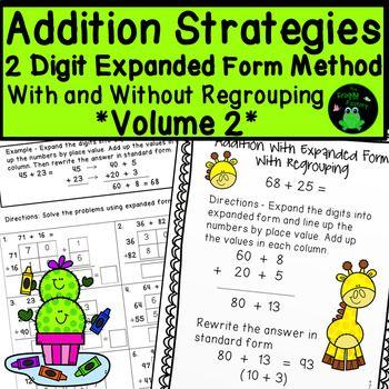Addition Strategies Worksheets 2 Digit Expanded Form Volume 2