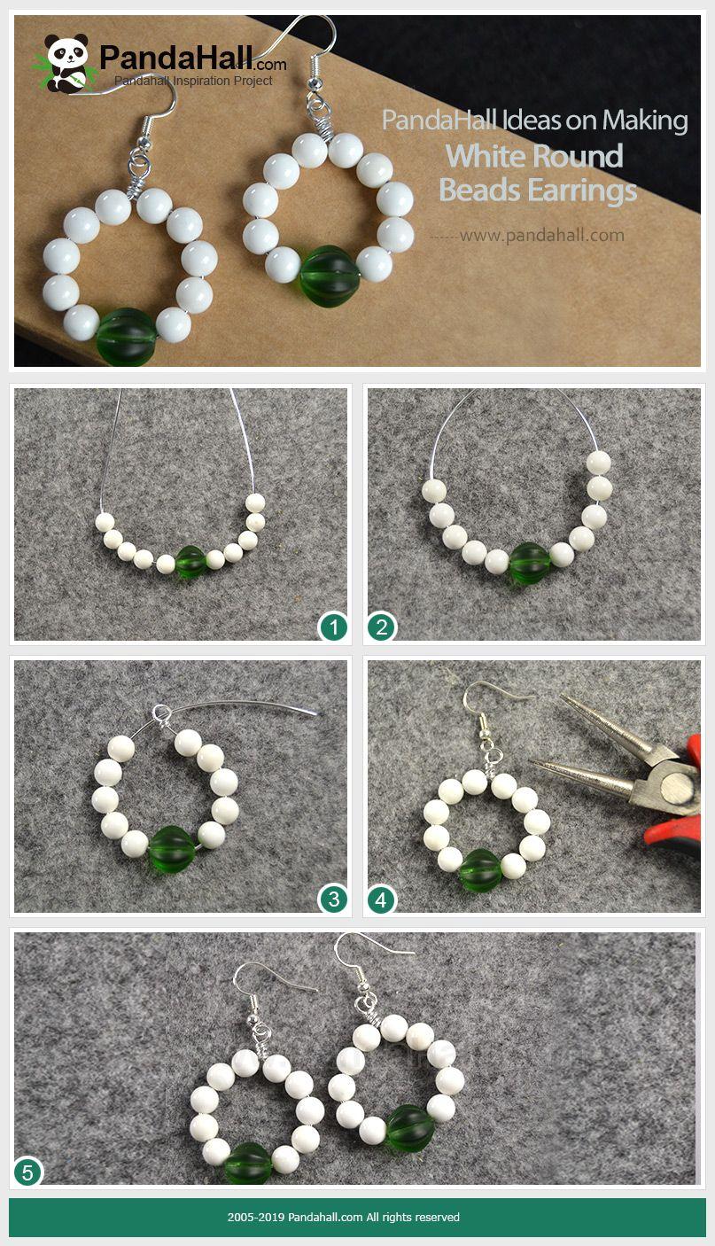 Pandahall Ideas On Making White Round Beads Earrings Pandahall