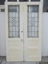 ~ ANTIQUE AMERICAN STAINED GLASS DOUBLE FRENCH DOORS 54 X 89 ~ SALVAGE