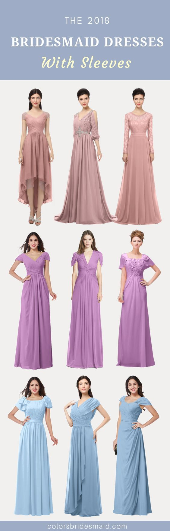 Bridesmaid dresses with sleeves in bridal party attire u more