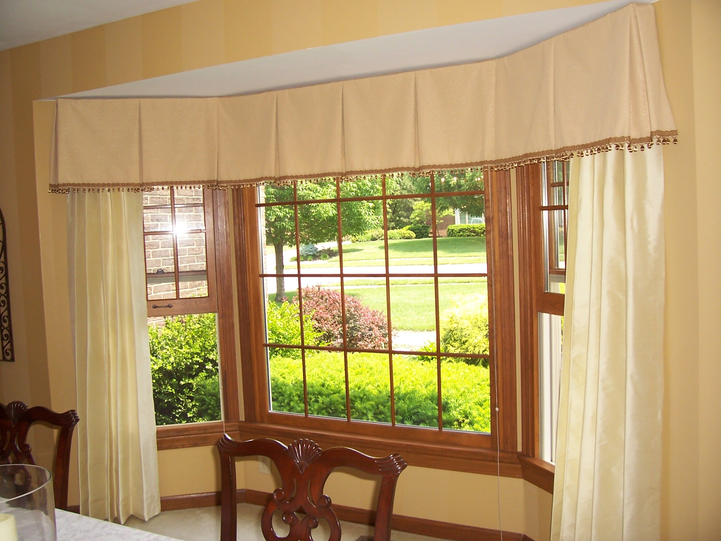 Continuous Box Pleated Valance With Trim At Lower Edge