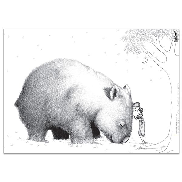 giant wombat black and white illustration