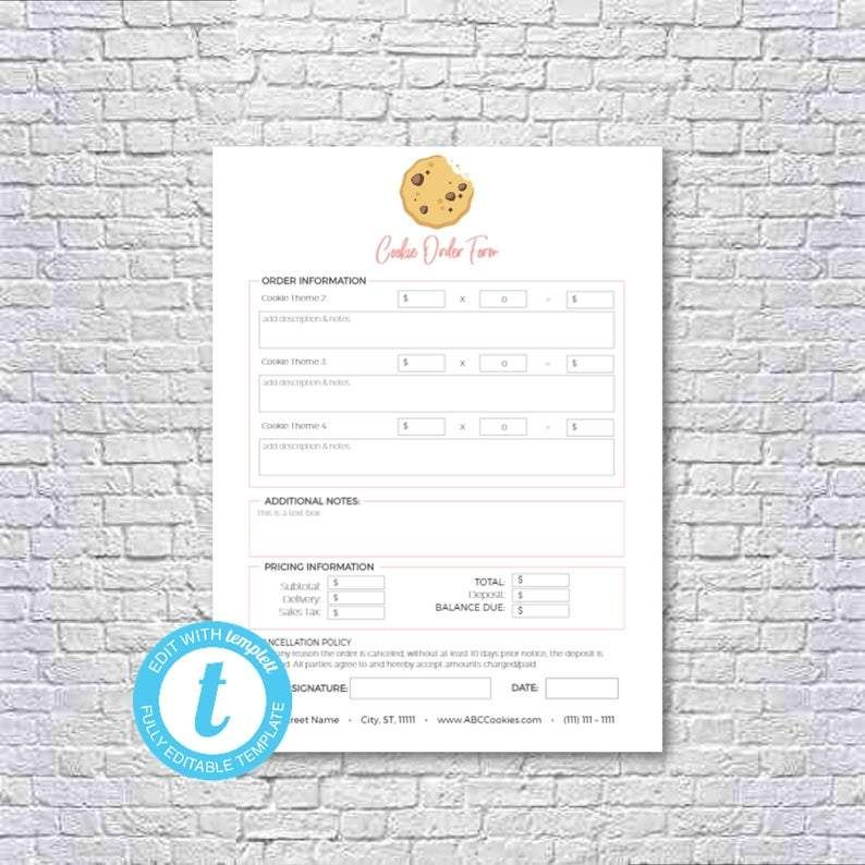 Cookie Decorating Business Editable And Printable Order Form Cookie Business Home Bakery Business Receipt Template