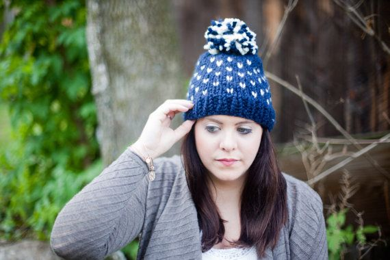 Fair Isle Knit Slouchy Hat with Pom Pom || THE CONEWAGO || Navy ...