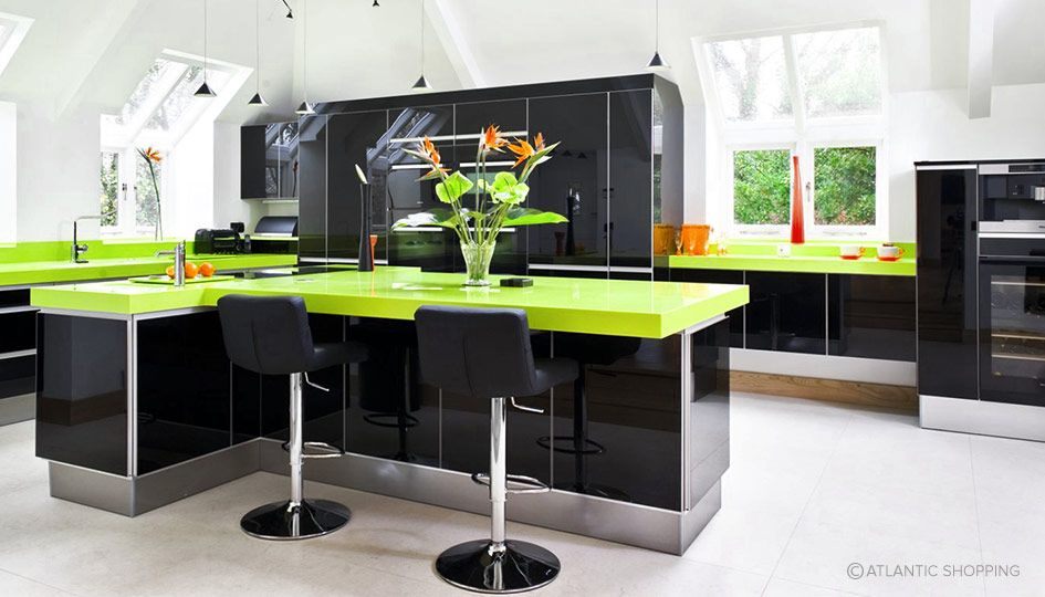 Kitchen Design Using Black And Lime Green Interiors Alongside Lattice Bar Stools