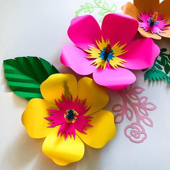 Svg dxf png petal 101 hibiscus paper flower template diy - Como hacer flores de papel ...