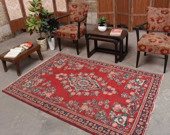 "Antique Oriental Area Rug Floral Design Pattern Dining Room Floor Carpet 8x10/"""