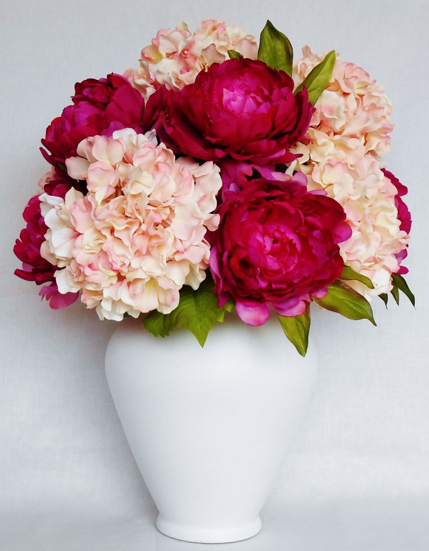 Artificial Flower Arrangement Fuchsia Peonies Pink Hydrangea White Vase Sil Pink Flower Arrangements Artificial Flower Arrangements Silk Flower Arrangements