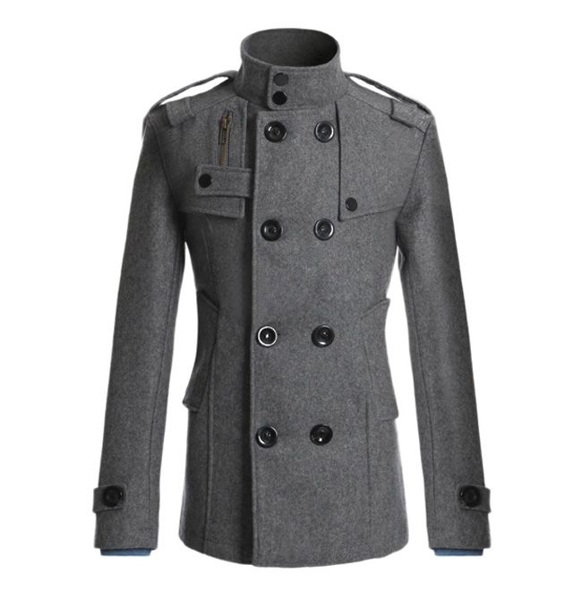 1d62a67c71a Korean Style Turndown Collar Solid Color Double-Breasted Long Sleeves  Polyester Trench Coat For Men (BLACK
