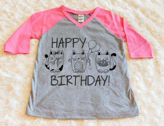 Happy Birthday Cat Shirt Baby Girl Clothes Toddler By LittleLillyBugDesign