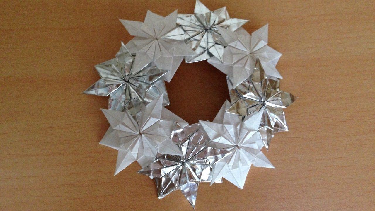 折り紙 雪の結晶のリース 折り方niceno1origami Snowflake Wreath