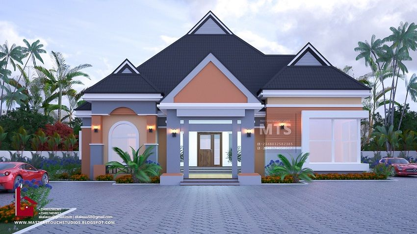 4 Bedroom Bungalow Rf 4017 House Plans Mansion Bungalow Design Bungalow House Design